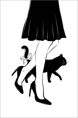 Premium poster Woman with a cat