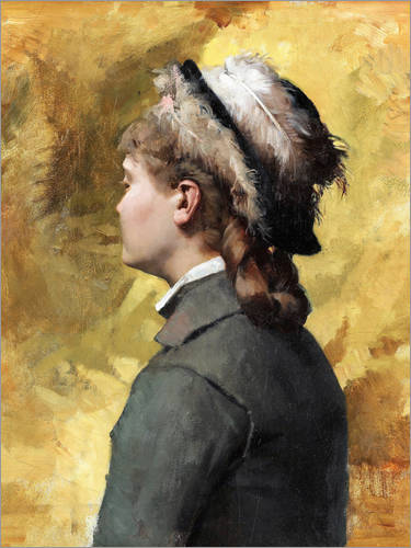 Premium poster Young woman in gray
