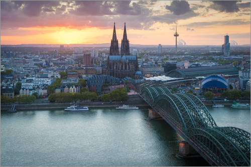 Premium poster Sunset over Cologne