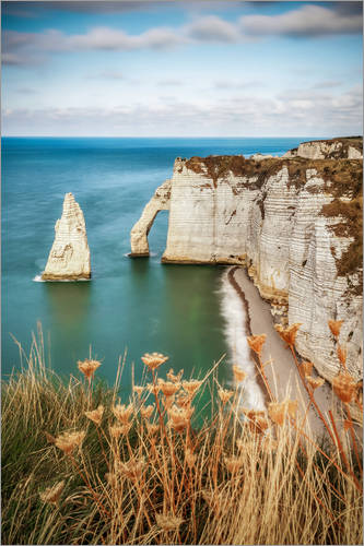 Premium poster View of the cliffs of Etretat, France, Normandy