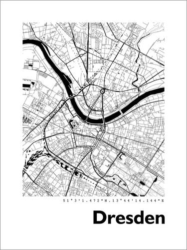 Premium poster City map of Dresden
