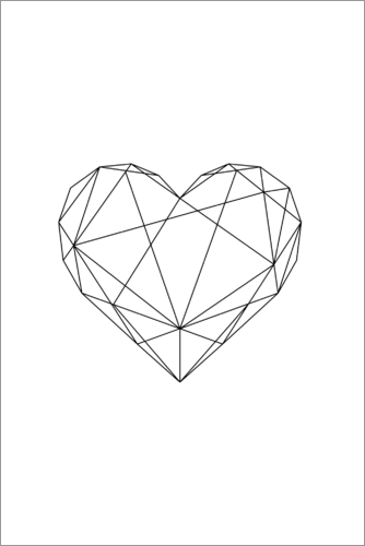 Black Geometric Heart Posters And Prints Posterlounge Co Uk