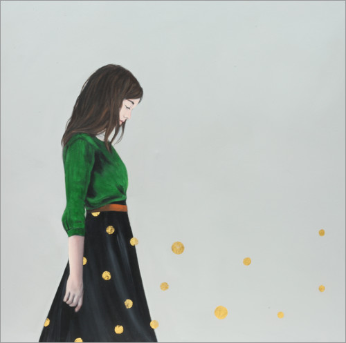 Wall sticker Golden dots (polka ddots) - portrait of a young woman
