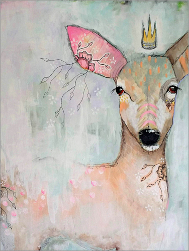 Poster The woodland wanderer - abstract deer