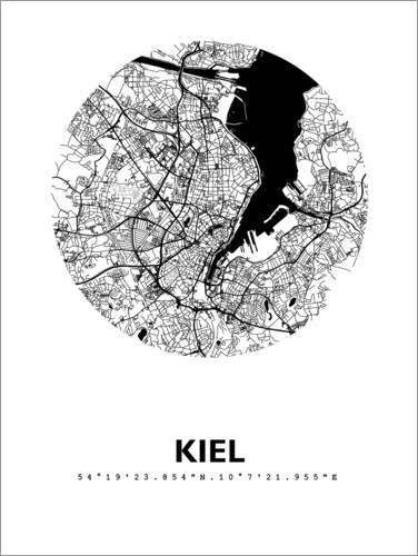 Premium poster City map of Kiel