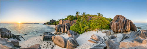 Premium poster Sunset in the Seychelles