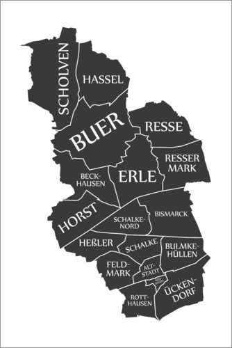 Premium poster Modern city map of Gelsenkirchen