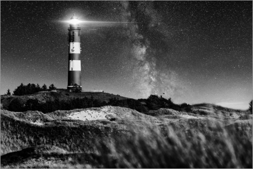 Premium poster Amrum Lighthouse with Milky Way