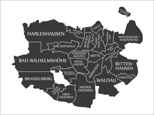 Premium poster Modern city map of Kassel