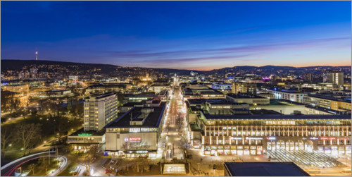 Premium poster Stuttgart with the Königstraße at night