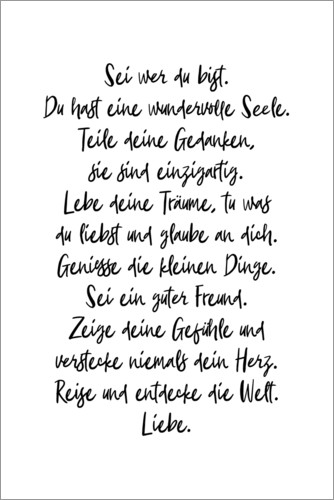 Premium poster Be who you are (German)