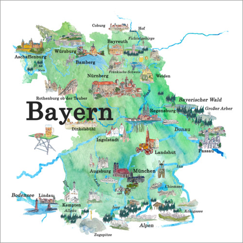 Wall sticker Bavaria map with sights