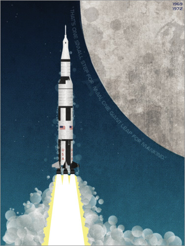Premium poster Apollo missile mission to the moon