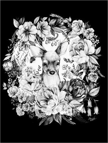 Premium poster Roebuck in the sea of flowers