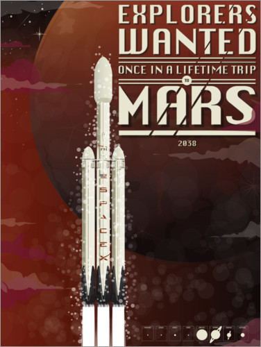 Premium poster Spacex Mars rocket