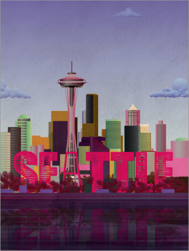 Premium poster Seattle City Skyline