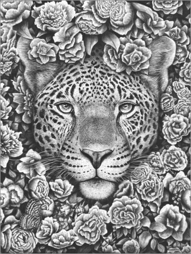 Premium poster Jaguar between flowers