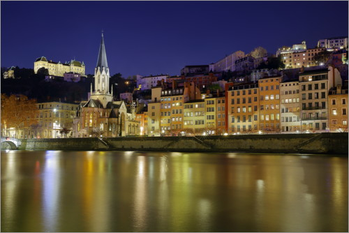 Premium poster Lyon at night