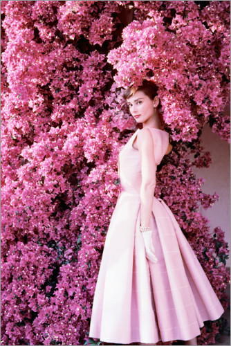 Premium poster Audrey Hepburn in an evening dress.