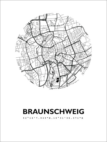 Premium poster City map of Brunswick around