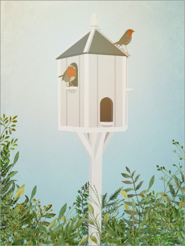 Premium poster Birdhouse with robins