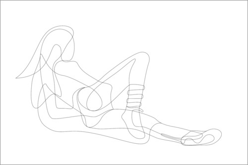 Premium poster Reclining Woman - Lineart