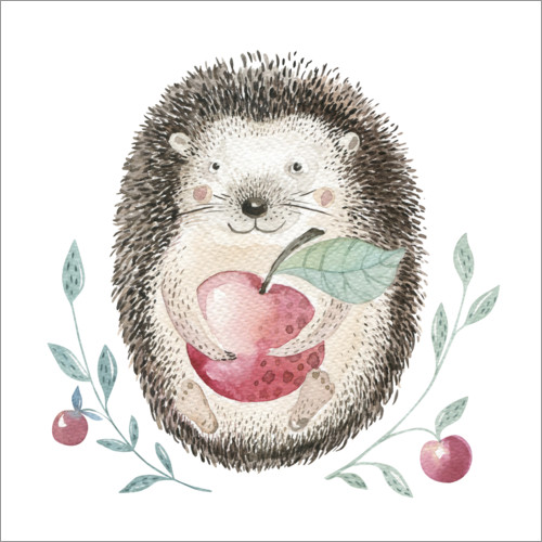 Premium poster Hedgehog with apple