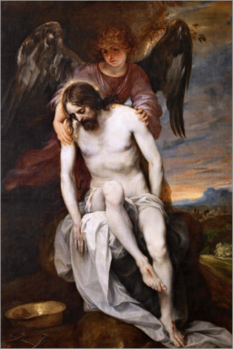 Premium poster The dead Christ supported by an angel
