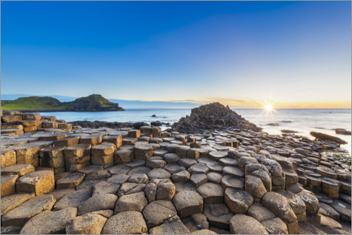Premium poster Sunset over Giants Causeway, Northern Ireland