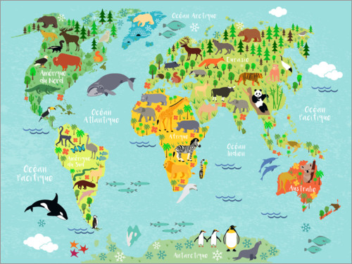 Premium poster World Map with Animals (French)