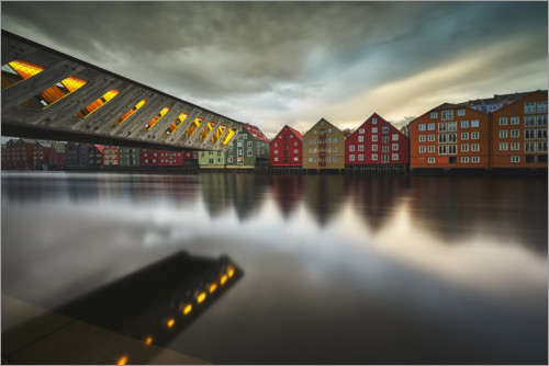 Premium poster Colorful wooden houses in Trondheim, Norway