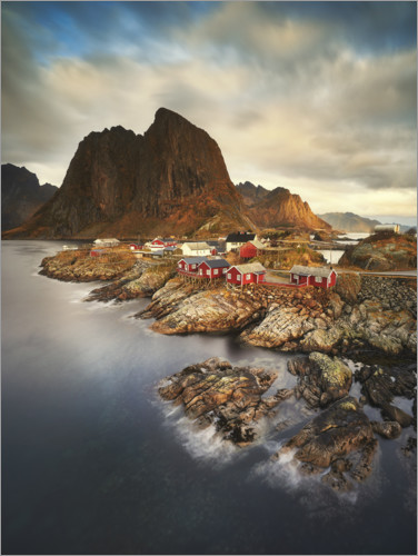 Premium poster Red fisher houses in Hamnoy, Norway