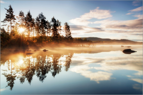 Misty morning at Storsjoen lake, Norway Posters and Prints ...