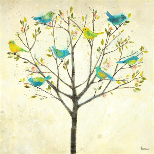 Premium poster Spring tree with birds
