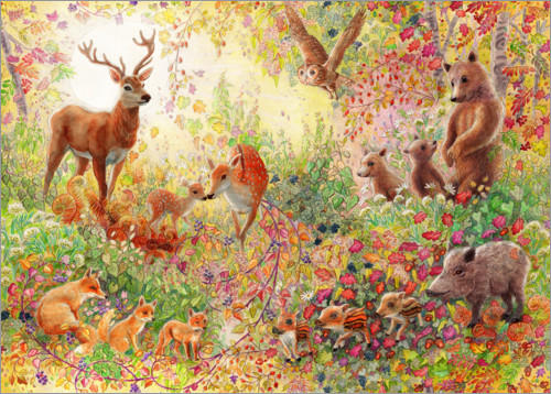 Premium poster Enchanted autumn forest with animals