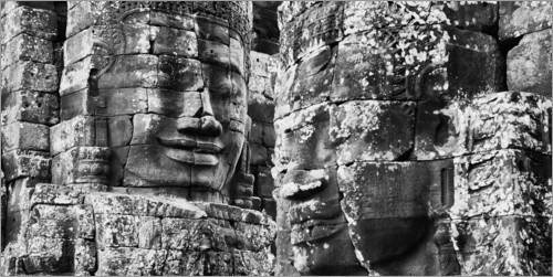 Premium poster Stone faces in Bayon Temple, Cambodia