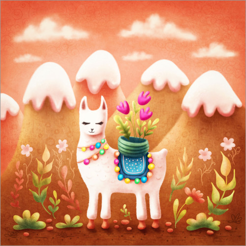 Premium poster Llama with flowers
