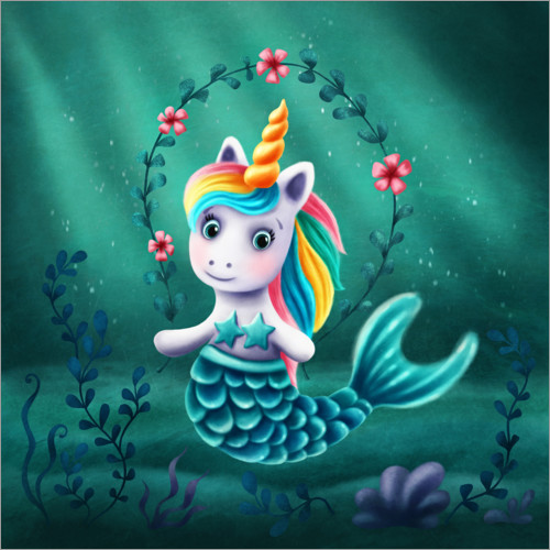 Wall sticker Little mermaid unicorn