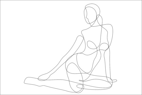 Premium poster Sitting woman - lineart