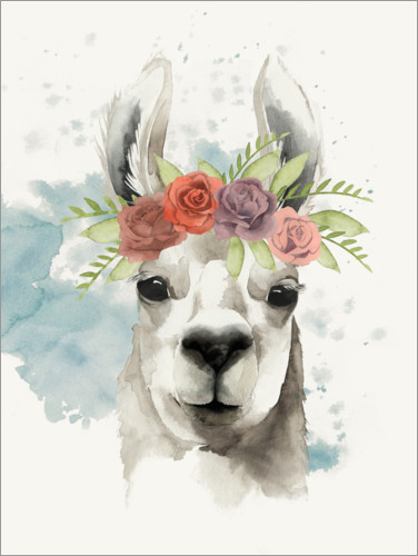 Premium poster Lama with flower crown I