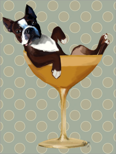 Premium poster Boston Terrier in Cocktail Glass