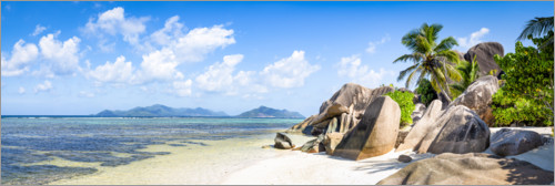 Premium poster Beach of La Digue, Seychelles