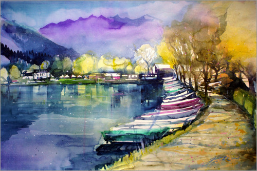Premium poster Fishing boats in autumn, Zell am See