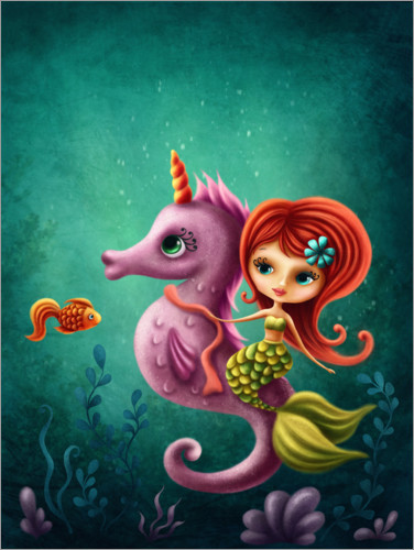 Premium poster Mermaid with a seahorse