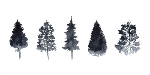 Premium poster Watercolor Pine Trees