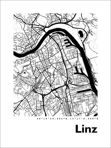 Premium poster City map of Linz