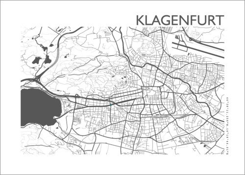 Premium poster City map of Klagenfurt