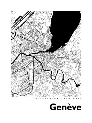 Premium poster City map of Geneva