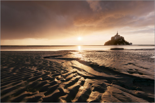 Premium poster Sunrise over Mont-Saint-Michel, Normandy