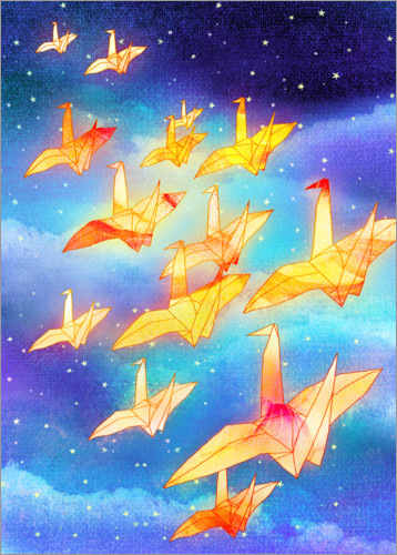 Premium poster Origami cranes in the night sky